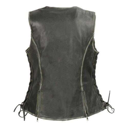 Gun Pockets Vest*MLL4517 Milwaukee Leather Women/'s Distressed Grey Zipper Front