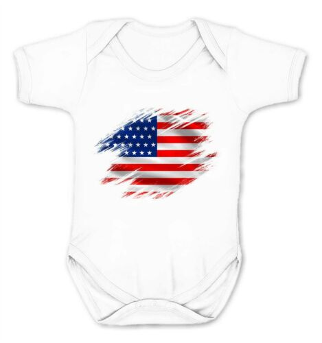 USA Flag Kids Babygrow United States America Supporter Cute Country Gift