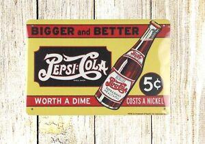 Vintage Signs For Sale >> Details About Us Seller Old Metal Signs Sale Bigger And Better Pepsi Cola Tin Metal Sign