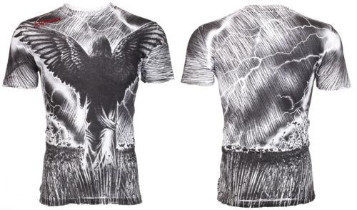 Affliction T-shirt homme Field of Dreams Ailes D/'Ange Blanc Tatouage Biker UFC 58 $