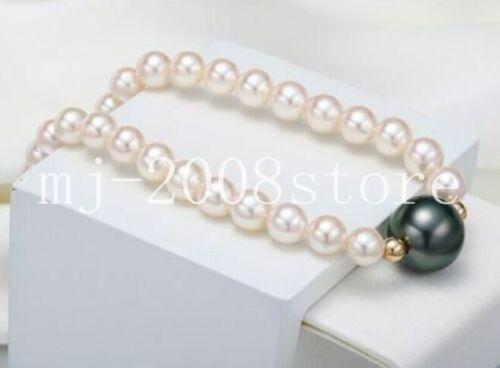 "SUPERBE 8mm/&12mm South Sea Noir Blanc Shell collier de perles 18/"""