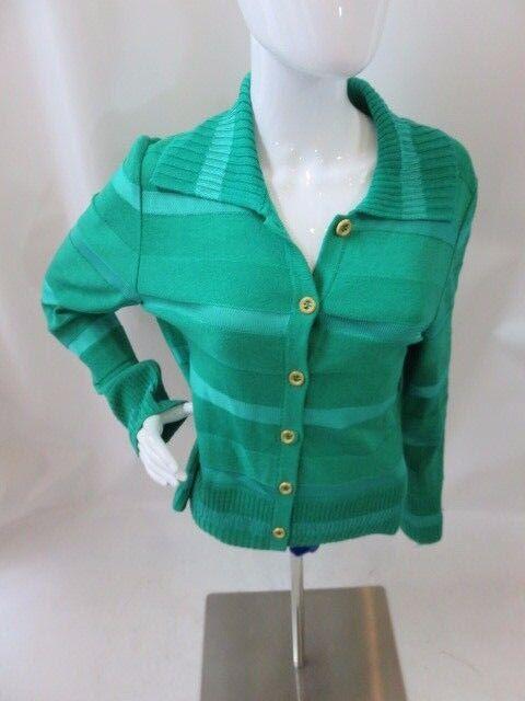 ST. JOHN Green Knit  Long Sleeve gold Button Down Cardigan Set Size M