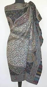Large-Kani-Jamawar-Wool-Shawl-Black-amp-Ivory-Stole-Intricate-Paisley-Jamavar