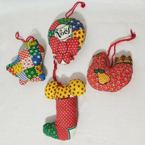 Details about  /Vintage Fabric Quilted Christmas Tree Ornaments Plush Stuffed Lot Set Colorful