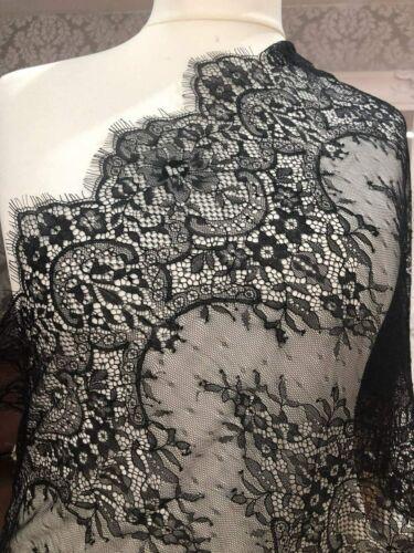 ALE12 Chantilly Lace Floral Bridal Flower Fabric Scallop Trim 300cmx41cm AMZ