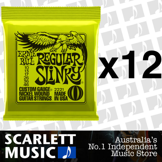 12x Ernie Ball Regular Slinky 10-46 Electric Guitar Strings *SET OF 12 PACKS*