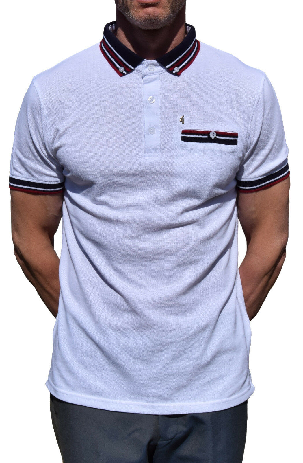 GABICCI VINTAGE Weiß STRIPED PIQUE POLO SHIRT MOD CLOTHING NORTHERN SOUL MODS