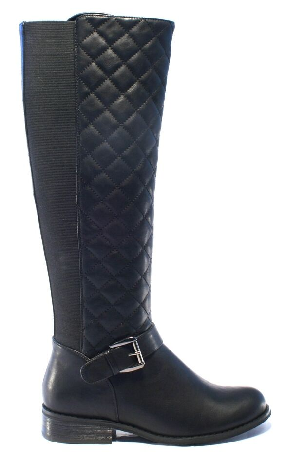 WOMENS- RIDING STYLE BOOTS- ACE- BLACK- KNEE LENGTH- UK SIZES 3-8