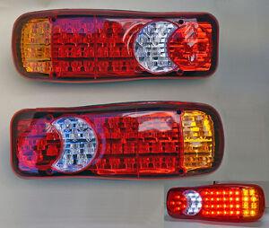 2 x 12V LED LUCI FANALI POSTERIORI UNIVERSALI CAMION ROULOTTE RIMORCHIO 5 FUNZ.