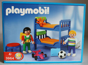 Rare 2002 playmobil 3964 childrens bedroom bunk beds new for Playmobil kinderzimmer 4287