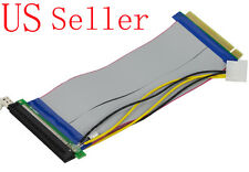 PCI Express PCIe 16X Riser Card Ribbon Extend Cable+Molex Power Capacity Filter