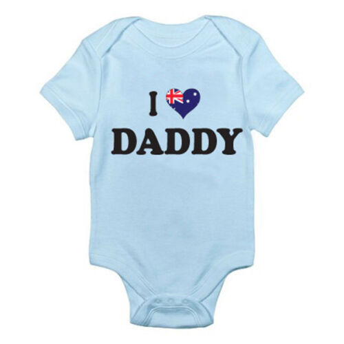 I LOVE DADDY Romper Dad Australia Themed Baby Grow Australian Father