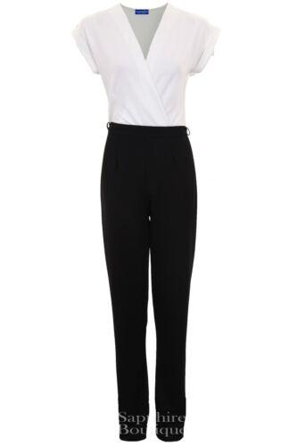 Women/'s Wrap Front Low V Neck Crepe Contrast Turn Up Cap Sleeve Ladies Jumpsuit