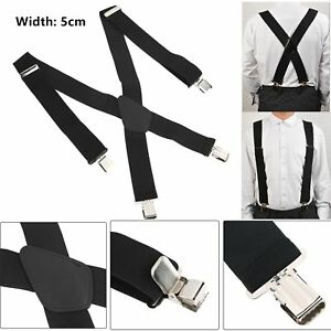 2f63933b68ff 5CM Men's Color X-Back Clip Suspenders Adjustable Elastic Retro ...