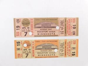 Lot-Of-2-1966-TICKET-4-10-1966-ASTROS-Astrodome