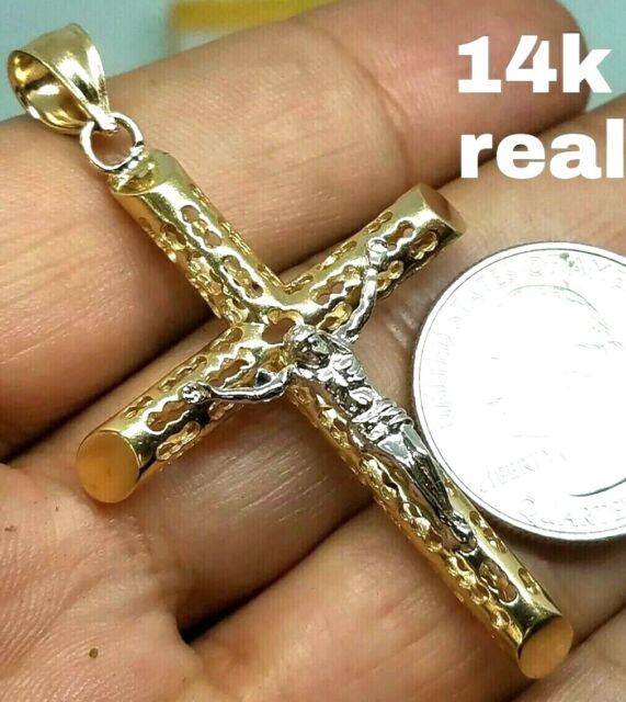 """14k White Gold Bark Tree Trunk Cross Charm Pendant 1.55/"""" 2.6 grams"""
