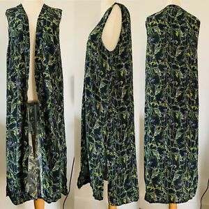 Topshop Navy Floral Long Kimono Vest Maxi Beach Cover Up Boho Festival Size 14