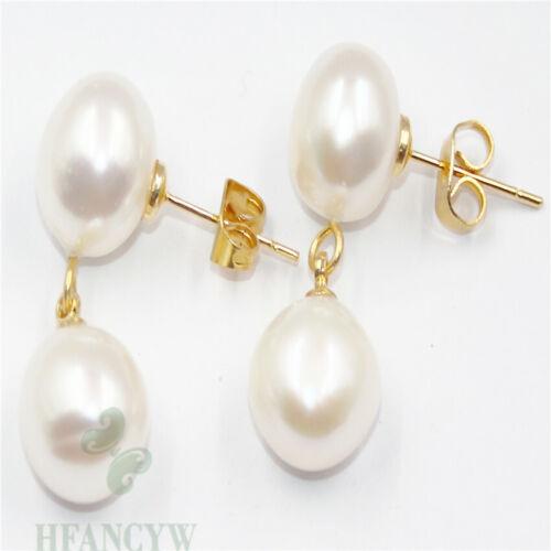 11-12 Mm Blanc Perle Baroque Boucles D/'oreilles 18k crochet naturel cadeau Dangler Classic Real