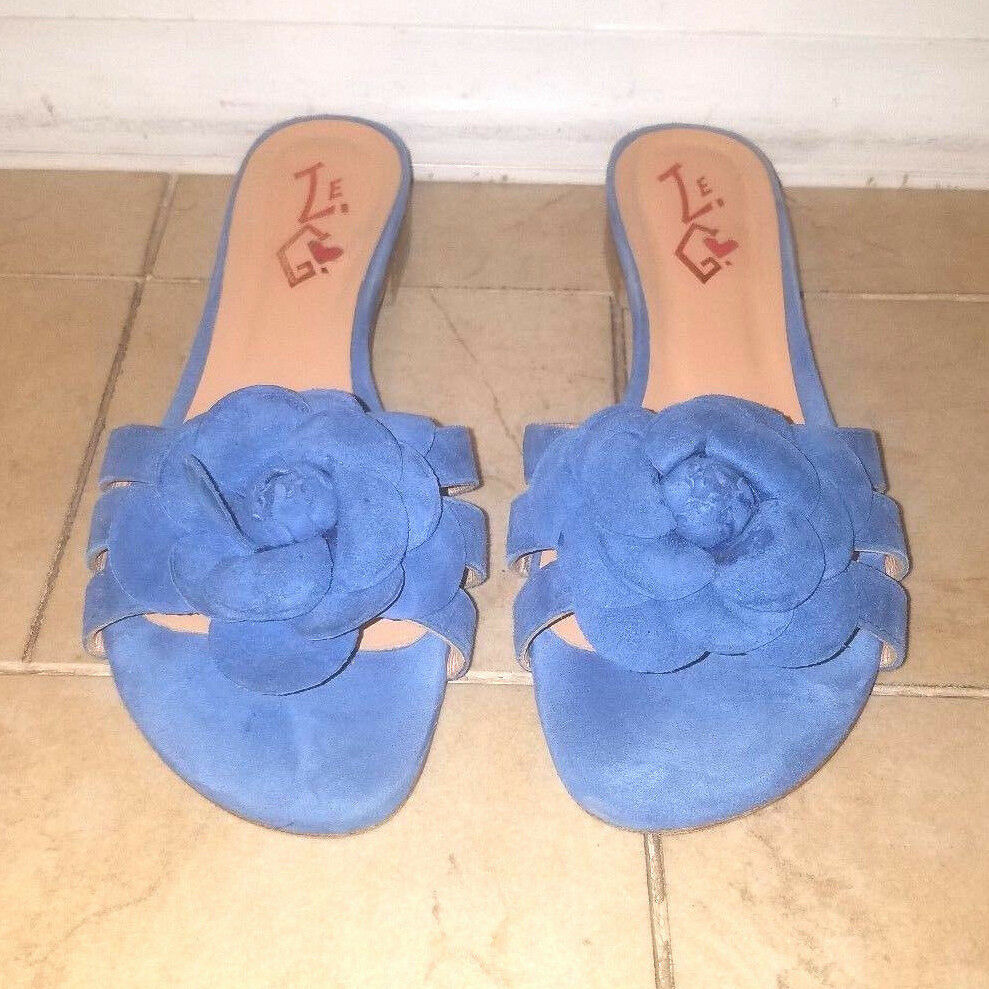 Womens shoes Slippers Slippers Slippers Flats Slides Mules bluee Suede  Size 39 c8d1d3