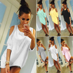 Summer-Womens-Ladies-Cold-Shoulder-Casual-T-Shirt-Holiday-Beach-Tee-Top-Blouse