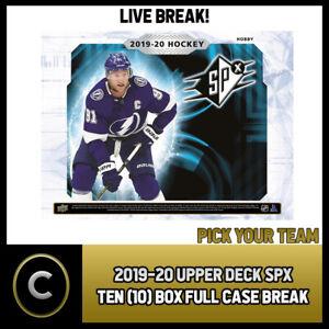 2019-20-UPPER-DECK-SPX-HOCKEY-10-BOX-FULL-CASE-BREAK-H686-PICK-YOUR-TEAM