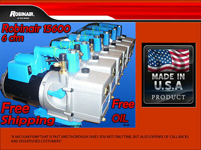 VACUUM PUMP ROBINAIR 15600  6 CFM  2 STAGES /FREE SHIPPING/ FREE OIL