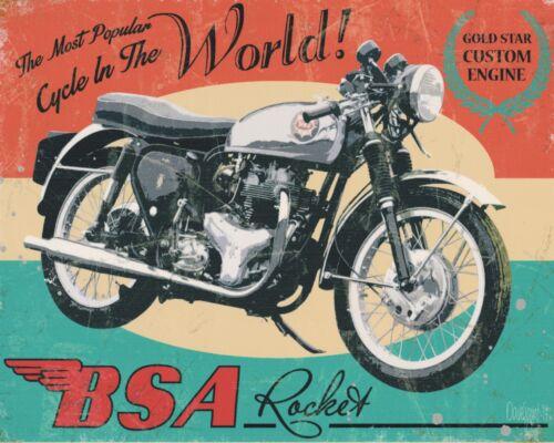 "10/"" x 8/"" BSA Rocket Moto Garage Atelier Man Cave Plaque métal signe N485"