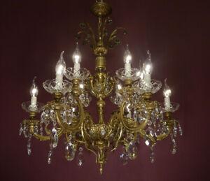 12 flammig Kristall Messing Kronleuchter großer Kirstalllüster silber