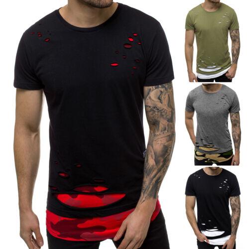 T-Shirt Kurzarm Shirt Basic U-Neck Slim Fitness OZONEE O//1115 Herren