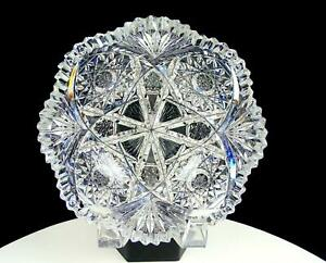 ABP-AMERICAN-BRILLIANT-PERIOD-CUT-CRYSTAL-HOBSTAR-FORKED-FANS-7-034-BOWL-1890-1915