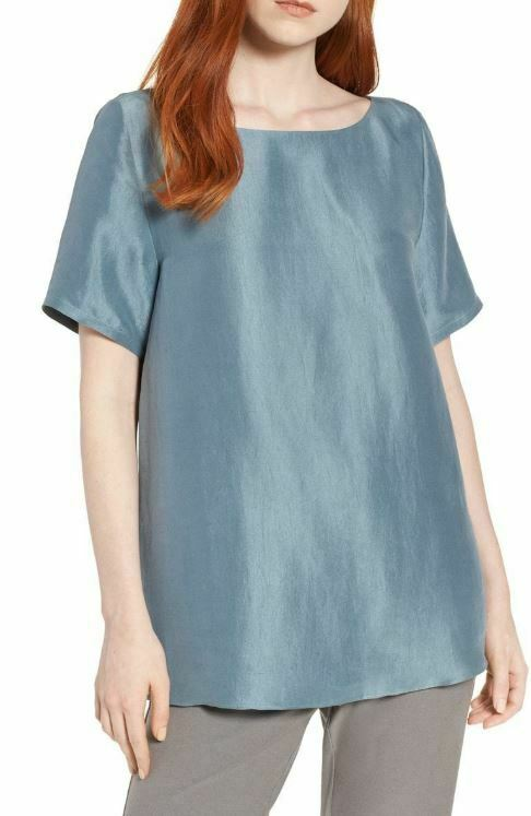 Eileen Fisher Blau Steel V-Back Silk Dupioni Blouse Top XS
