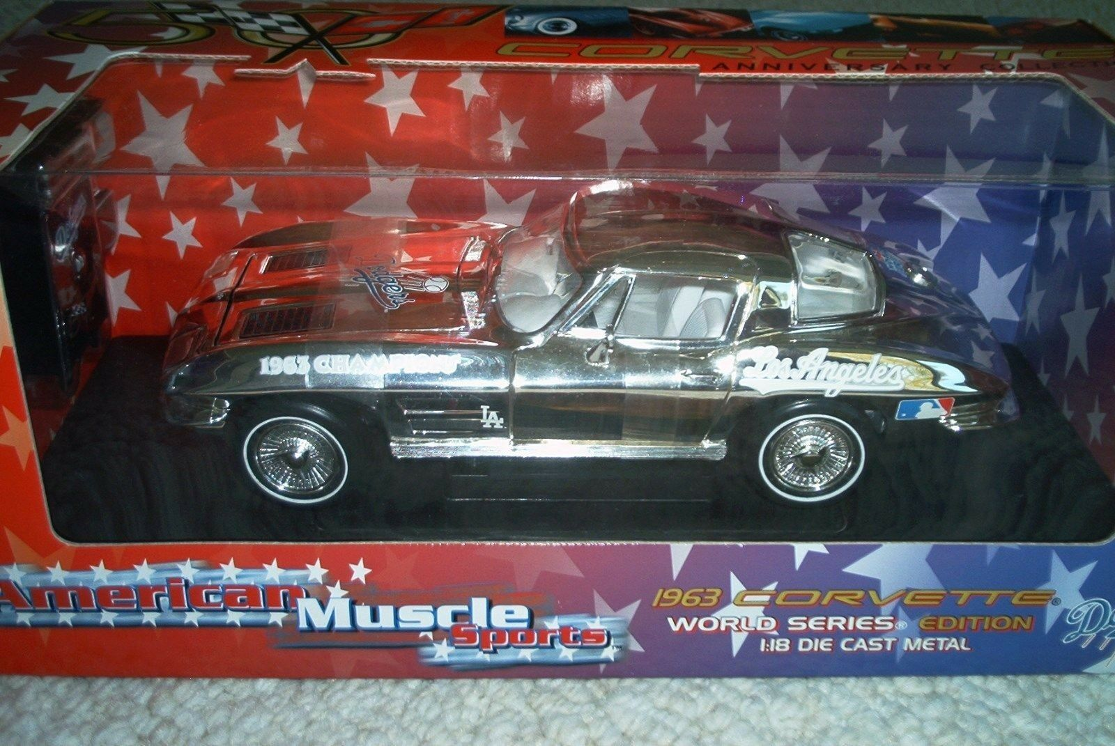 RARE Ertl 1 18 1963 Chevrolet Corvette  1963 Dodgers - 1 500 CHASE CAR
