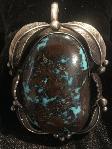 Turquoise Pendant Signed Vintage Navajo Pilot Mt