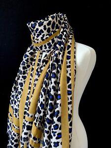 7454fd0209b34 Chargement de l'image en cours Femmes-Bleu-Imprime-Leopard-Foulard-Animal -Enveloppant-avec-