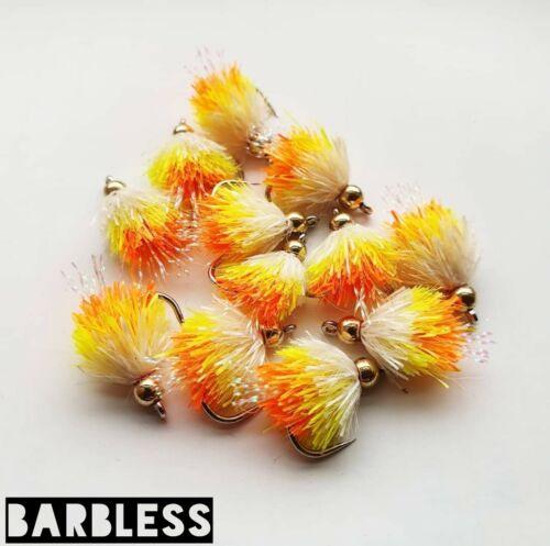 Set of 3 Barbless G//H 3 Tone Blobs Size 10 wide Gape Fly Fishing Buzzers Bung