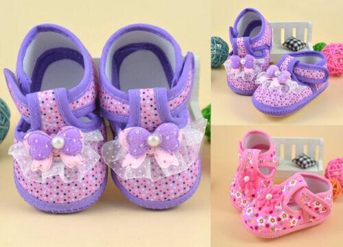 Pair Kids Baby Girl Pink Polka Dot Soft Sole Crib Shoes Prewalker First Shoes E