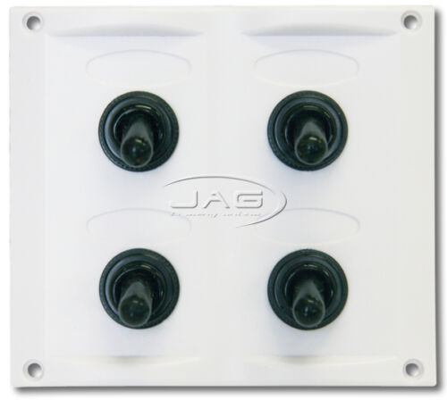 4-GANG WHITE WATERPROOF TOGGLE SWITCH PANEL with 15A Blade Fuses-Marine//Boat//RV