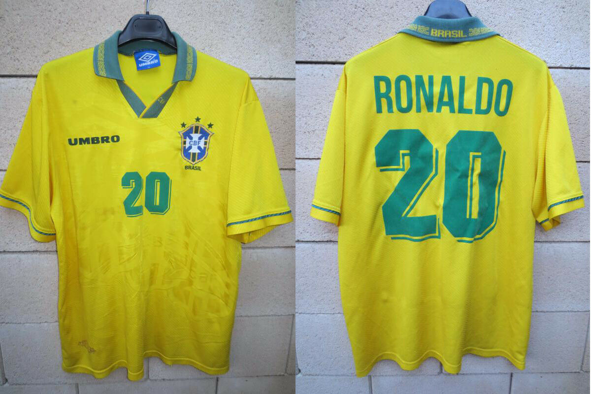 Maillot BRÉSIL BRASIL 1994 RONALDO n°20 UMBRO shirt shirt shirt trikot jersey vintage XL a654ce