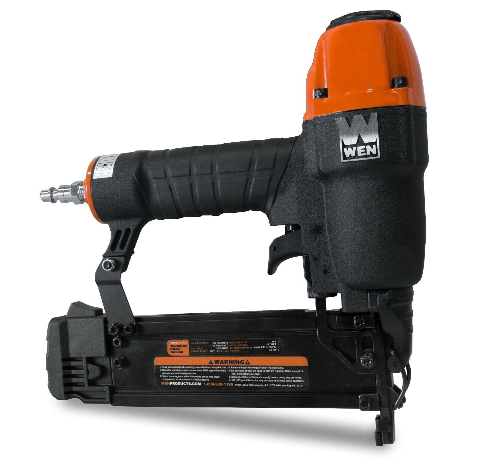 WEN 61721 18-Gauge 3/8-Inch to 2-Inch Pneumatic Brad Nailer with 2000 Nails. Available Now for 40.02