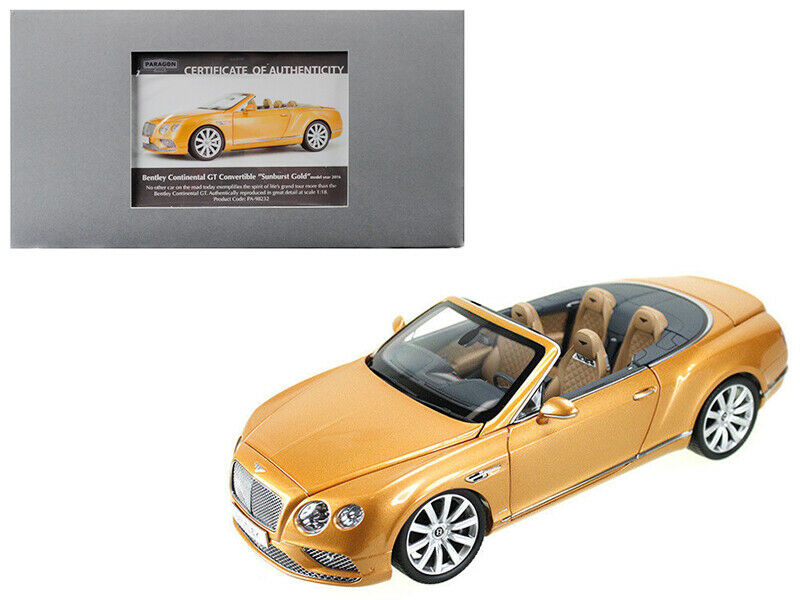 2016 Bentley Continental GT Cabriolet LHD Sunburst OR 1 18 Diecast Voiture Modèle