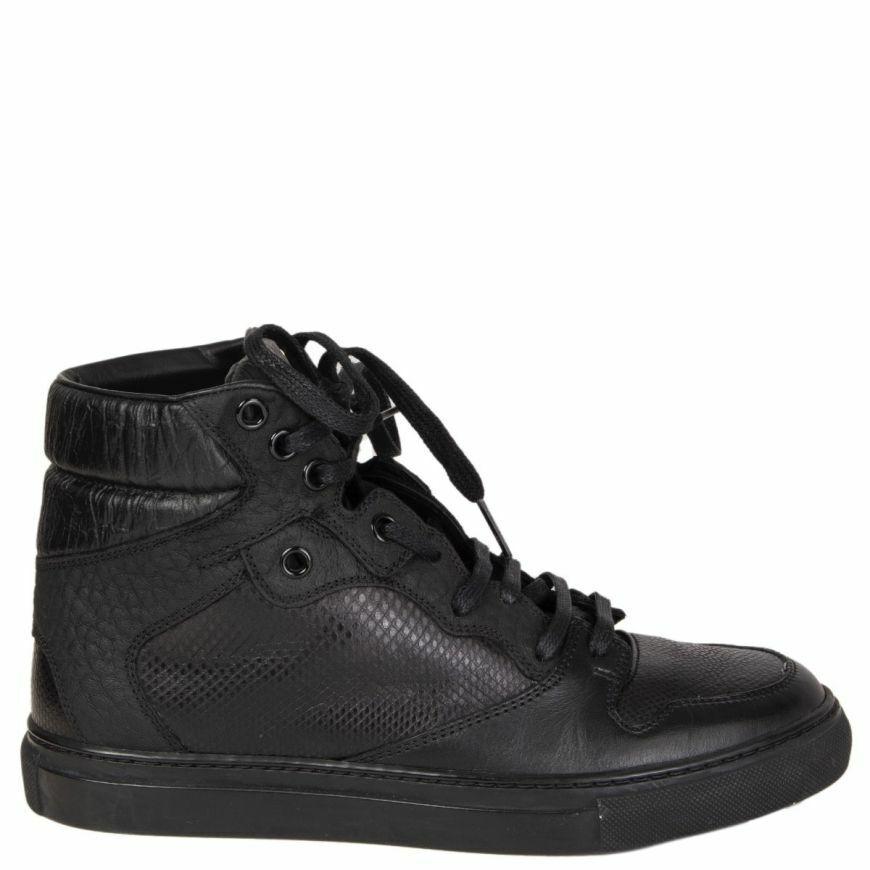 57659 auth BALENCIAGA nero leather CAMBURE High-Top sautope da ginnastica Flats sautope 36