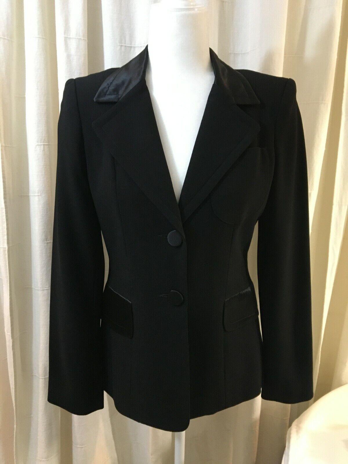 Black Tuxedo Jacket Satin Accents - bebe