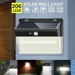 1800LM-206LED-Solar-Power-Light-PIR-Motion-Sensor-Outdoor-Garden-Wall-Path-Lamp