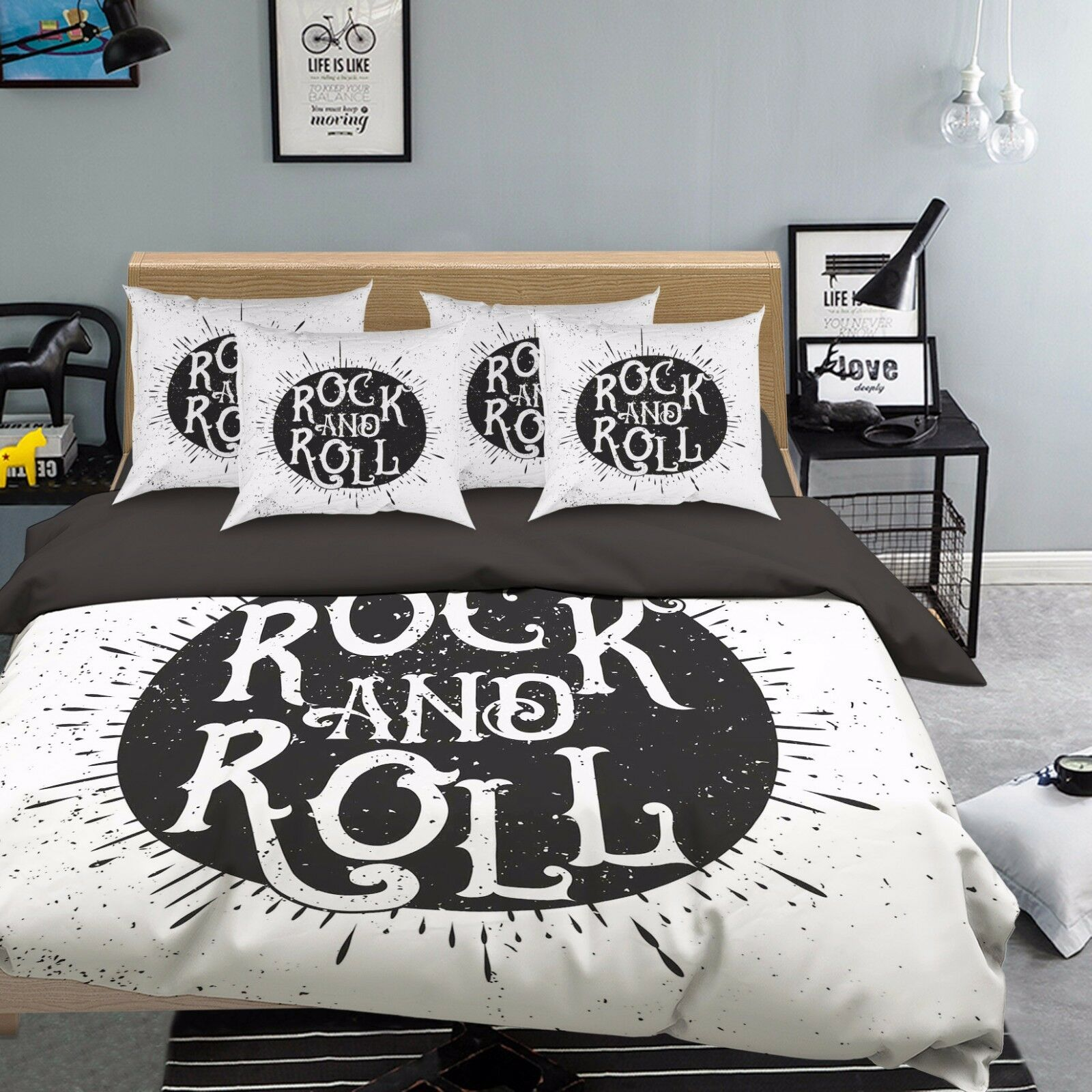 3D Letter Adorn 910 Bed Pillowcases Quilt Duvet Cover Set Single Queen UK Summer