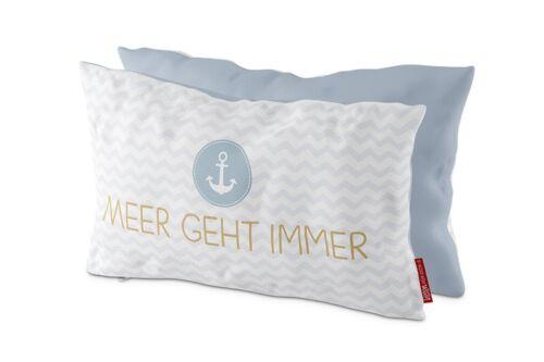 Coussin mer va toujours bleu blanc 25x40cm maritime référence 100/% coton Lavida