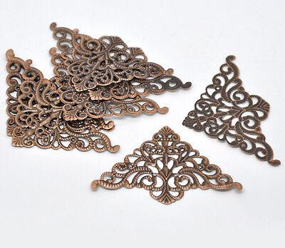 30 Copper Tone Filigree Triangle Wraps Connectors 7.5cm x 4.8cm
