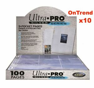 ULTRA-PRO-SILVER-SERIES-9-POCKET-POKEMON-TRADING-CARD-SLEEVES-10-PAGES-SHEETS