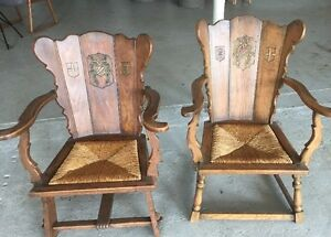 Details About 2 Original Antique Medieval Gothic King Queen Throne Chairs