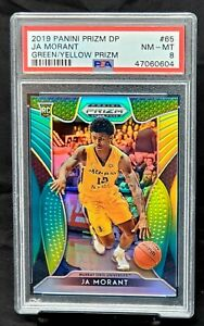 2019-Prizm-GREEN-YELLOW-REFRACTOR-Grizzlies-JA-MORANT-Rookie-Card-249-PSA-8