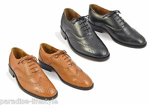 Mens Leather Brogue Shoes Black Tan Sole Lace Up Handmade Size 6 7 8 9 10 11 12